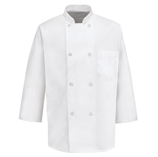 8 Pearl Button Unisex Chef Coats With Three-Quarter Sleeves - Click for Large View