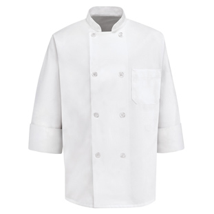 8 Button Unisex Chef Coats with NO Thermometer Pocket - Click for Large View