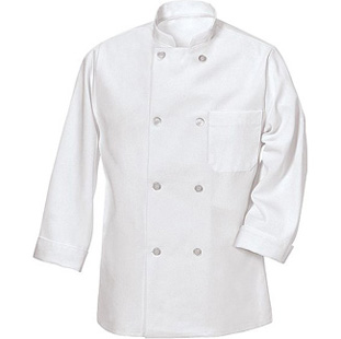 8 Button Unisex Chef Coat With Thermometer Pocket - Click for Large View