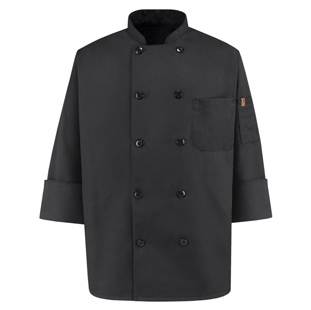 Spun Polyester Unisex Black Chef Coat - Click for Large View