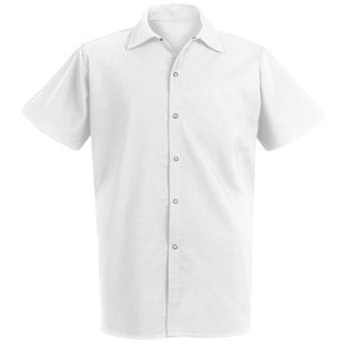 Unisex Long White 100% Spun Polyester Cook Shirt - Click for Large View