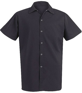 Unisex Long Black 100% Spun Polyester Cook Shirt - Click for Large View