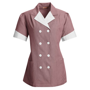 Double Breasted Housekeeping Lapel Pincord Tunic - Click for Large View