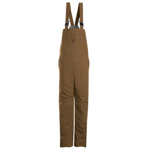 Flame Resistant Deluxe Brown Duck Insulated Bib Overalls - Click for Large View