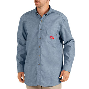 Dickies Flame Resistant Long Sleeve Chambray Shirt - Click for Large View