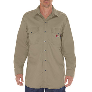 Dickies Flame Resistant Long Sleeve Twill Snap Front Shirt - Click for Large View