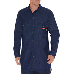 Dickies Flame-Resistant Long Sleeve Denim Snap Front Shirt - Click for Large View