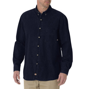 Dickies Long Sleeve Denim Work Shirt - Click for Large View
