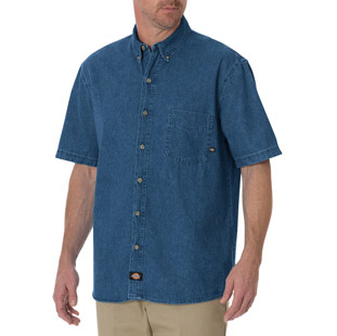 Dickies Short Sleeve Denim Work Shirt - Click for Large View