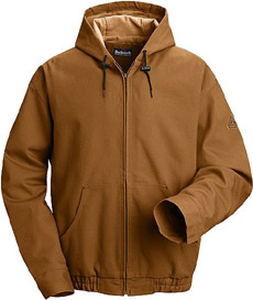 Flame Resistant Comfortouch Brown Duck Hooded Jacket with Lanyard Access - Click for Large View