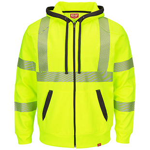Full Zip ANSI Hi Visibility Work Hoodie - Click for Large View