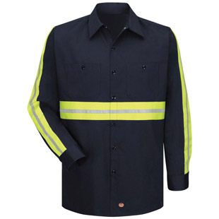Enhanced Visibility Cotton Long Sleeve Work Shirt - Click for Large View