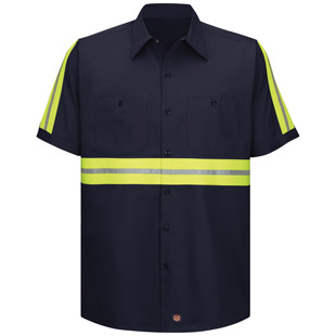 Enhanced Visibility Cotton Short Sleeve Work Shirt - Click for Large View