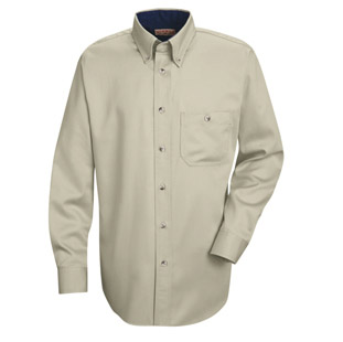 Unisex Heavy Weight Cotton Twill Long Sleeve Casual Shirt - Click for Large View