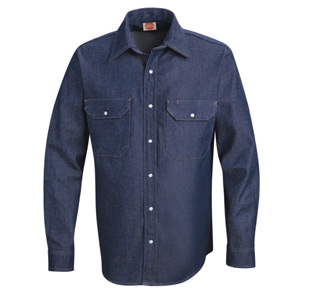 Red Kap Denim LONG SLEEVE Western Work Shirts - Click for Large View