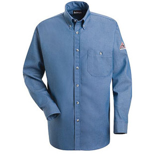 Flame Resistant Button Front Cotton Denim Dress Uniform Shirt - Click for Large View