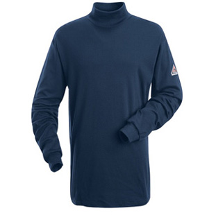 Flame Resistant Long Sleeve Cotton Tagless Mock Turtle Neck - Click for Large View