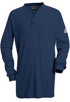 Flame Resistant Excel-FR Long Sleeve Tagless Henley Shirt - Click for Large View