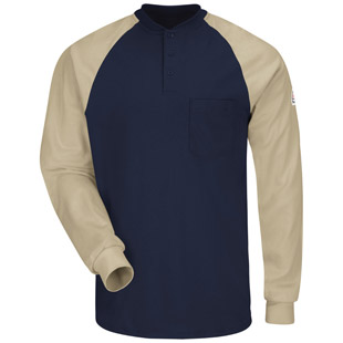 Flame Resistant Long Sleeve Color-Blocked Tagless Henley Shirt - Click for Large View