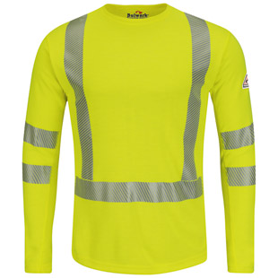 Hi Vis Flame Resistant Long Sleeve T-Shirt - Class 3 Level 2 - Click for Large View
