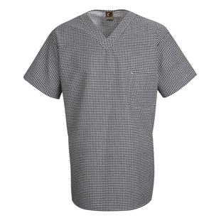 Unisex Checked V-Neck Chef Shirt - Click for Large View