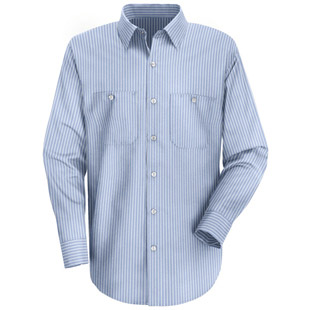 Red Kap Mens Striped TouchTex II LONG SLEEVE Work Shirts - Click for Large View
