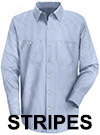 Men's Striped Industrial Long Sleeve Work Shirt