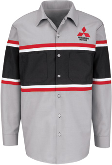 Mitsubishi Striped Mechanic Long Sleeve Shirt - Click for Large View