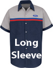 Ford Striped Long Sleeve Mechanic Shirts