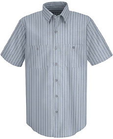 Red Kap Mens Striped TouchTex II SHORT SLEEVE Work Shirts - Click for Large View