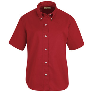 Red Kap Womens Button Down Poplin SHORT SLEEVE Shirts - Click for Large View
