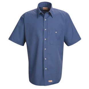 Red Kap Mens Mini-Plaid SHORT SLEEVE Work Shirts - Click for Large View