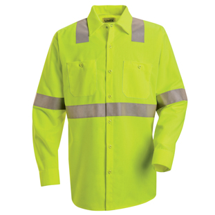Hi-Visibility Long Sleeve Work Shirt - Class 2 Level 2 - Click for Large View