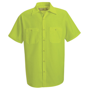 Enhanced Visibility Yellow Green Short Sleeve Shirt - Click for Large View