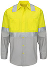 Men's Hi-Visibility Color Block Long Sleeve Work Shirt