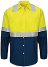 Men's Hi-Visibility Colorblock Ripstop Long Sleeve Work Shirt - Type R Class 2