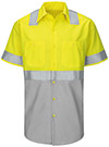 Men's Hi-Visibility Color Block Short Sleeve Work Shirt