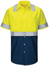 Men's Hi-Visibility Colorblock Ripstop Short Sleeve Work Shirt - Type R Class 2