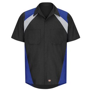 Tri-Color Short Sleeve Shop Shirt - Click for Large View