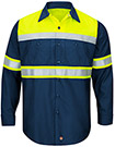 Men's Hi-Visibility Ripstop Color Block Long Sleeve Work Shirt - Type O, Class 1