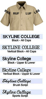 Direct Text Embroidery - $5.95 1st Line, $2.00 2nd Line, & $1.00 3rd line per area - Click for Large View