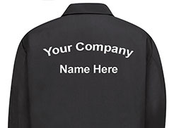 Jacket Back or Coverall Back Text Embroidery