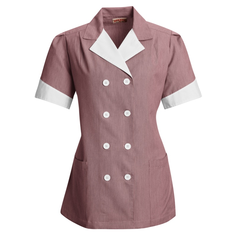 Double Breasted Housekeeping Lapel Pincord Tunic 9s03