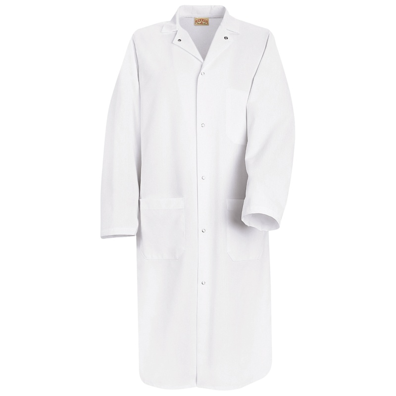 100 Polyester Butcher Coat With Pockets 1 Inside And 2