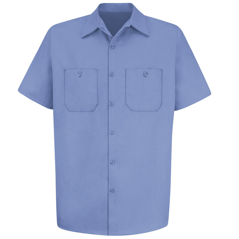 Men 39 s wrinkle resistant 100 cotton short sleeve work for 100 cotton work shirts