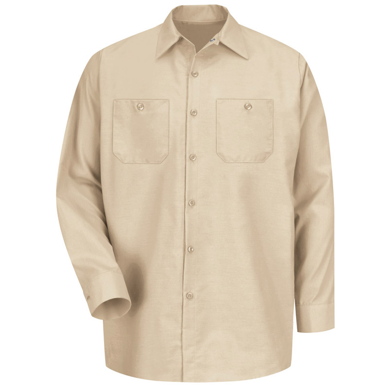 Men's Solid Color Long Sleeve Industrial Work Shirt - SP14