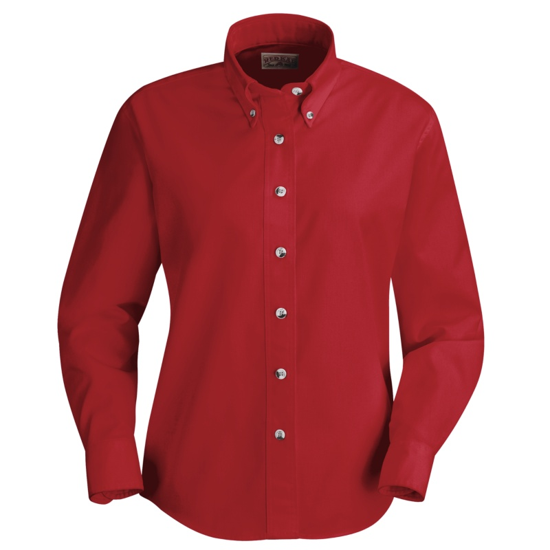 Women S Button Down Poplin Long Sleeve Shirt Sp91